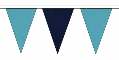 SKY BLUE AND NAVY BLUE TRIANGULAR BUNTING - 10m / 20m / 50m LENGTHS